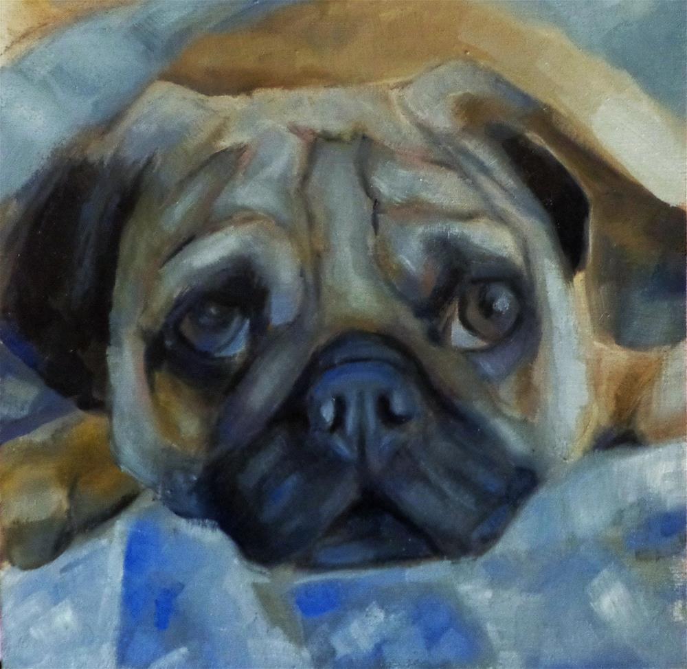 """Dog resting"" original fine art by Maria Z."