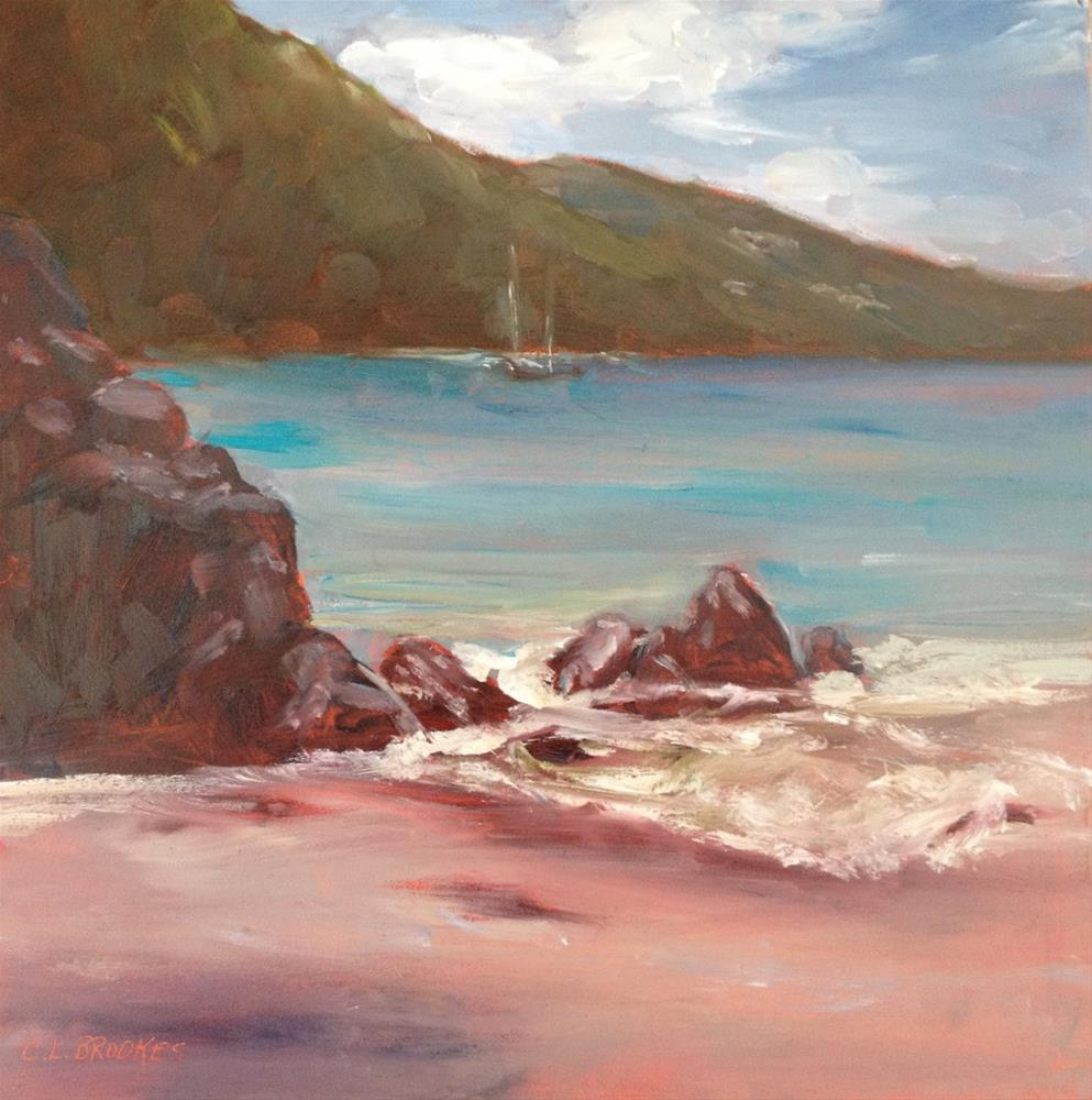 """High Tide at Maho"" original fine art by Claudia L Brookes"