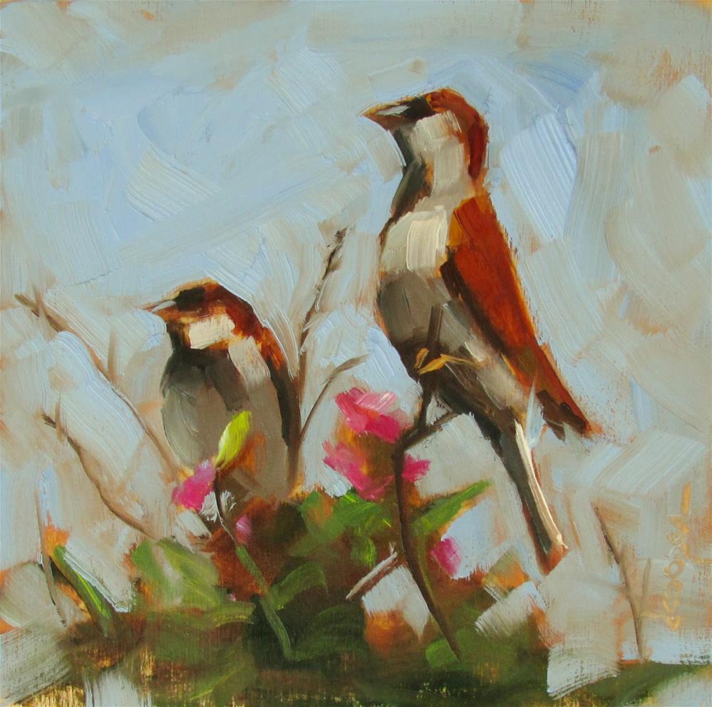 """Two Birds"" original fine art by Dana Cooper"