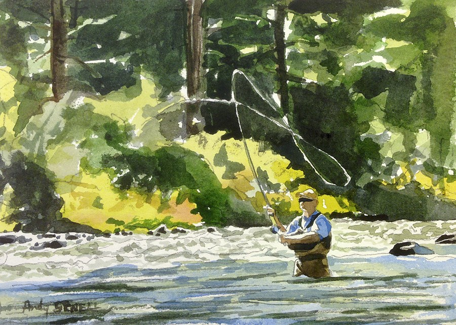 """The Search of September Steelhead"" original fine art by Andy Sewell"