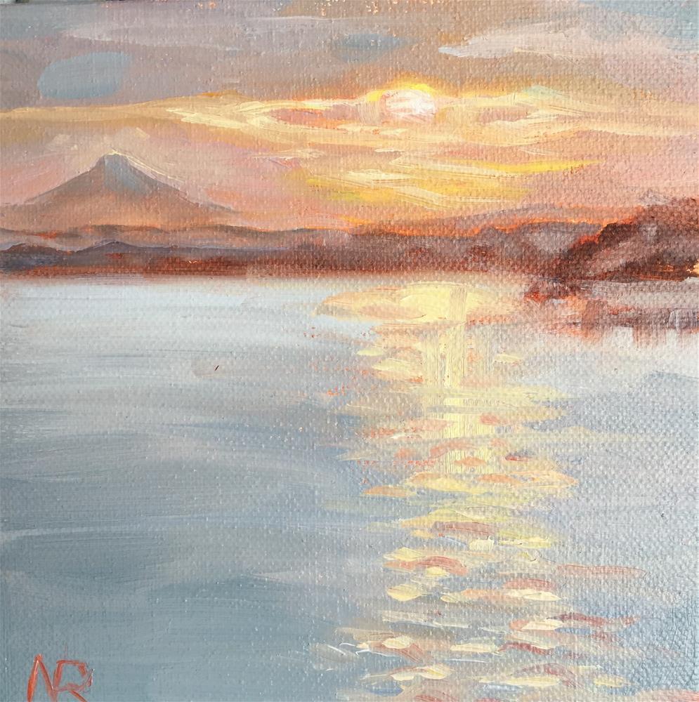 """Sunrise over the Columbia"" original fine art by Natasha Ramras"