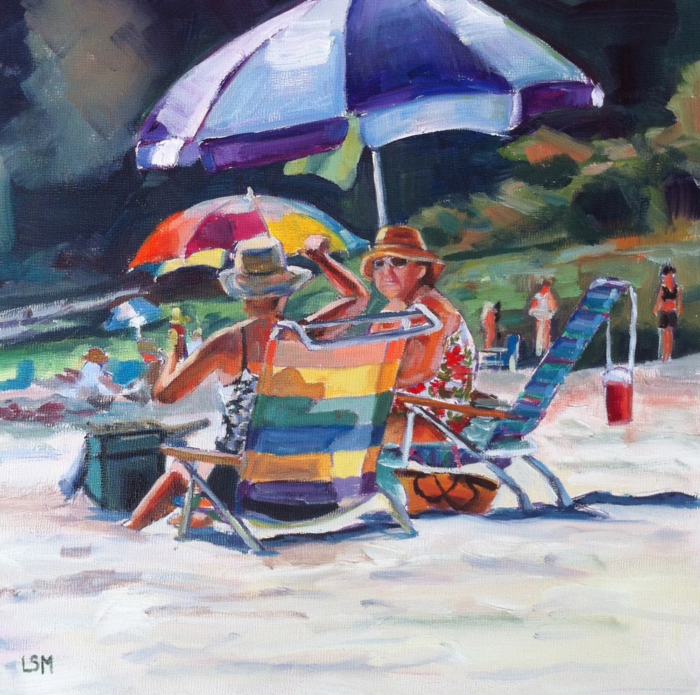 """Purple Umbrella - Rocky Neck Beach, CT"" original fine art by Linda Marino"