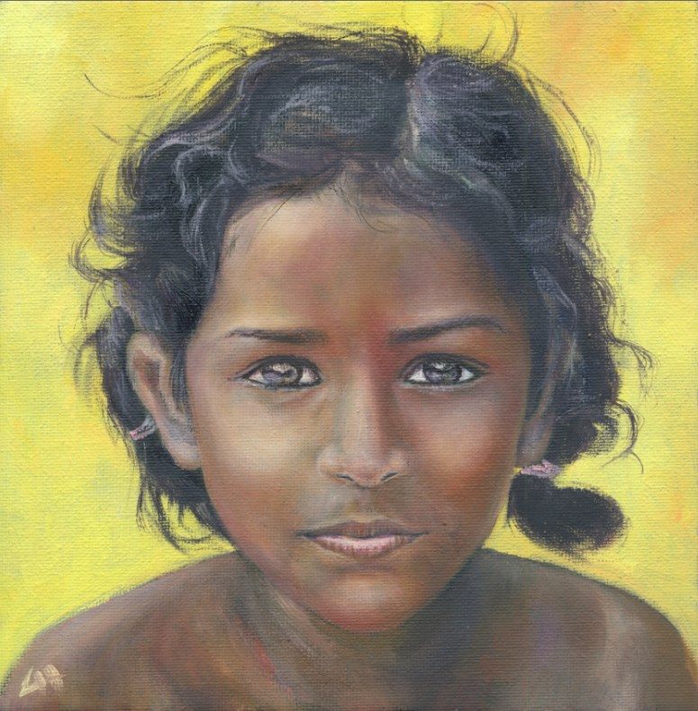 """The African Girl"" original fine art by Hui (Hue) Li"