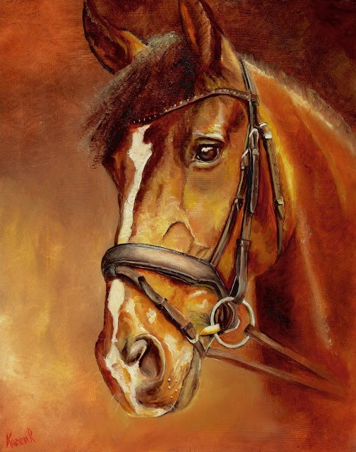 """Horse on Red No 2"" original fine art by Karen Robinson"