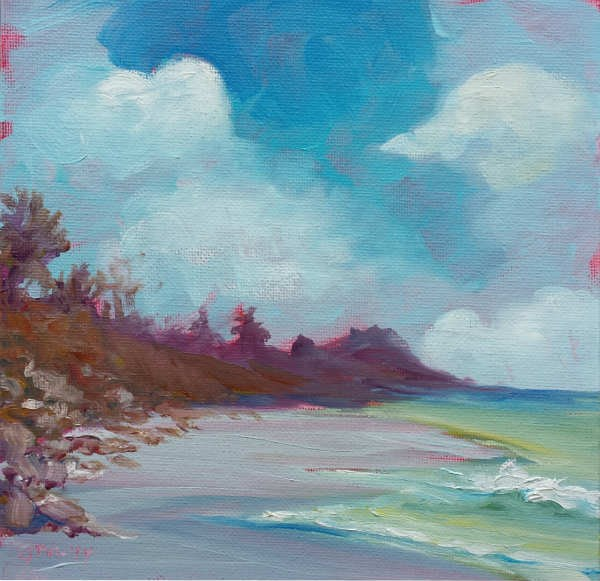 """Lincoln Beach 1 original seascape oil painting"" original fine art by Pam Van Londen"