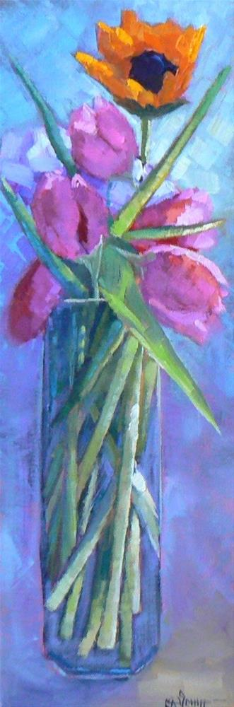 """Sale Painting, Flower Painting, Daily Painting, Small Oil Painting, Tall Stems, 6x18x1.5 Original"" original fine art by Carol Schiff"