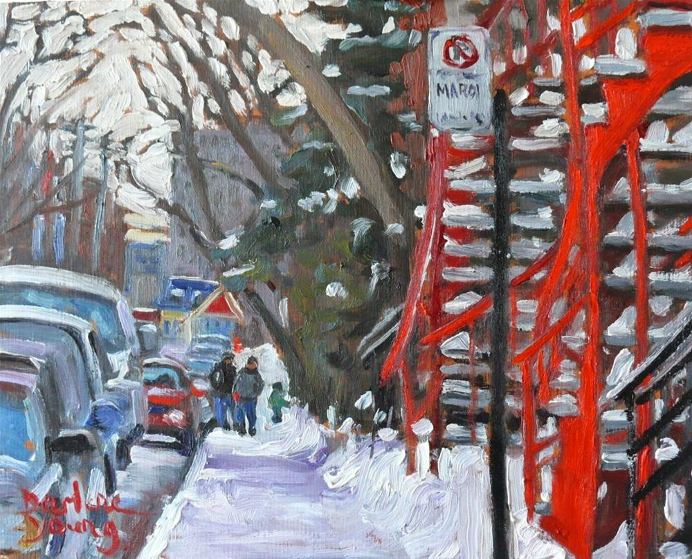"""""""814 Montreal Winter, Red Stairs, 8x10, oil"""" original fine art by Darlene Young"""