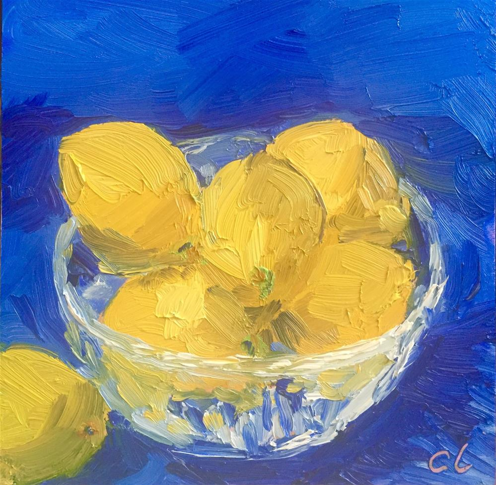"""Bowl of lemons"" original fine art by Cheree Apalona Lueck"