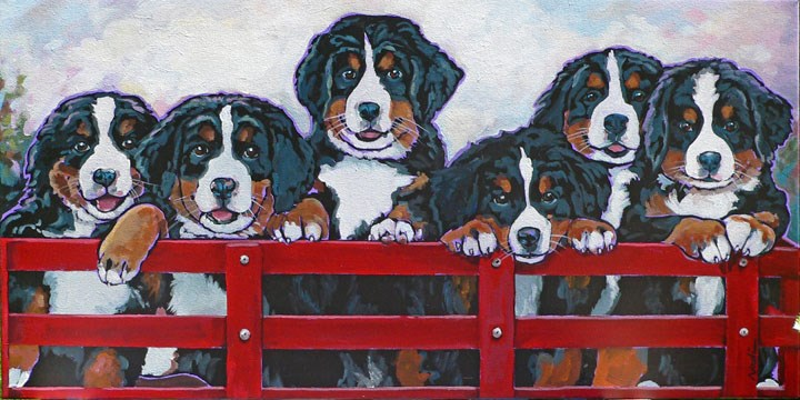 """Berner Puppies!"" original fine art by Nadi Spencer"