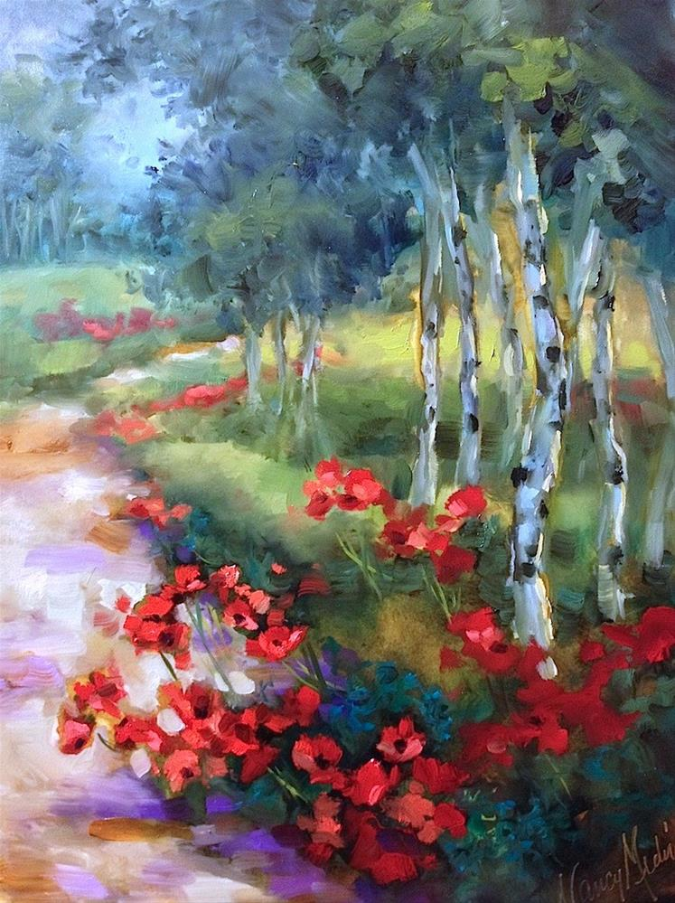 """Open Sky Field of Poppies and Live Painting on Facebook"" original fine art by Nancy Medina"