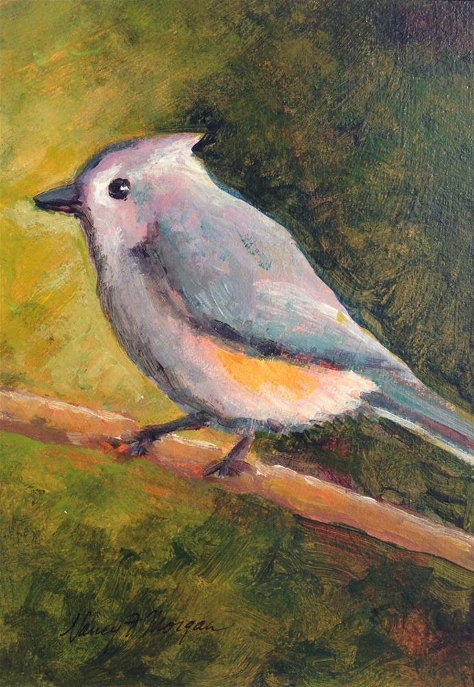 """Tufted Titmouse"" original fine art by Nancy F. Morgan"