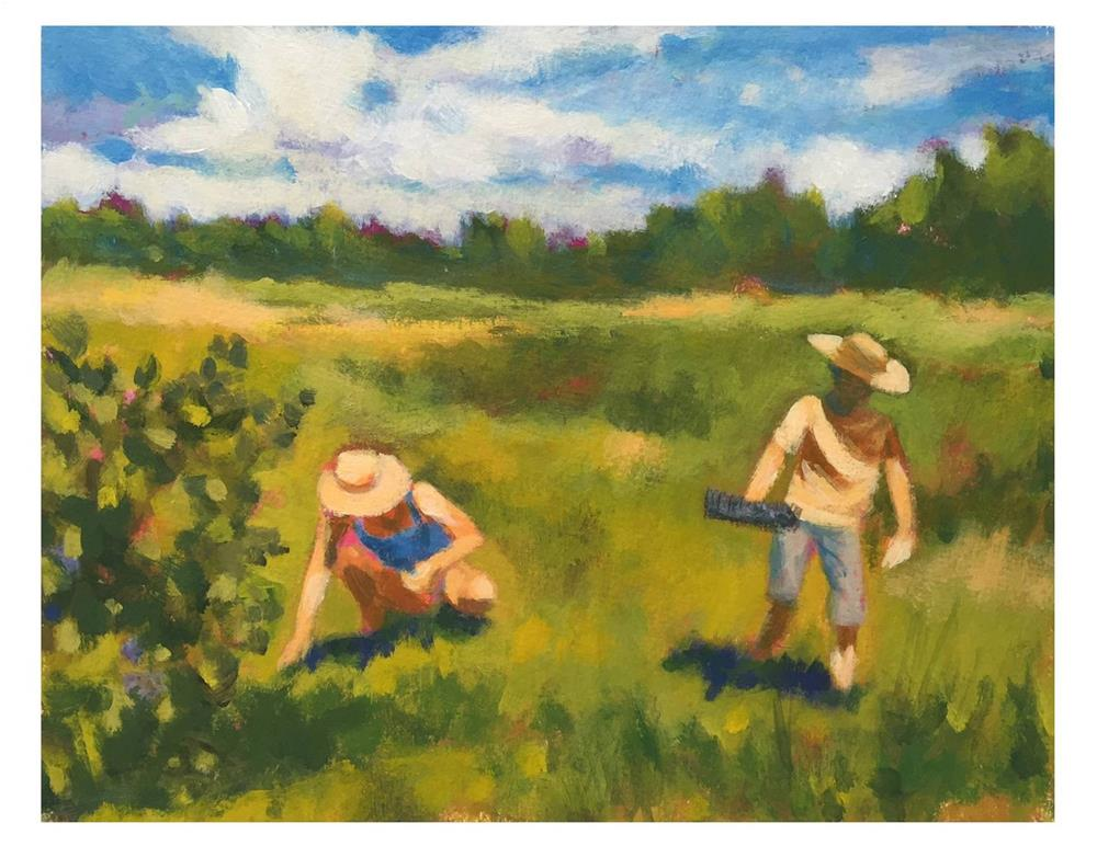 """The Blueberry Rakers"" original fine art by Suzanne Woodward"