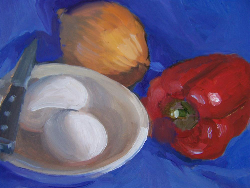 """Eggs and Red Pepper"" original fine art by Joan Reive"