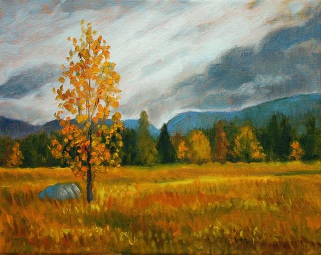 """Autumn birch tree in the Blue Mountains"" original fine art by Hilary J. England"