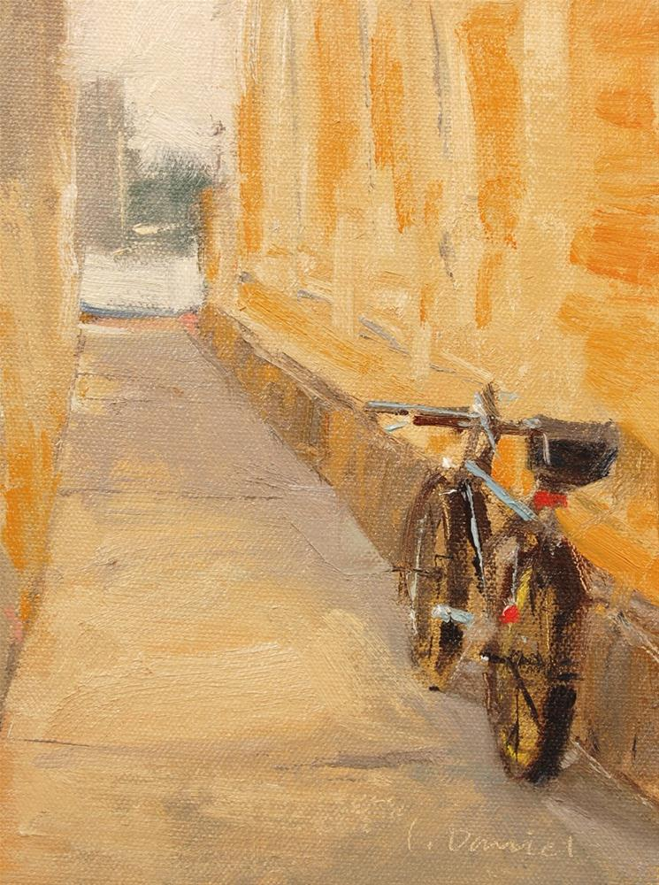 """Bicycle Alley - Quick Draw Do-over"" original fine art by Laurel Daniel"