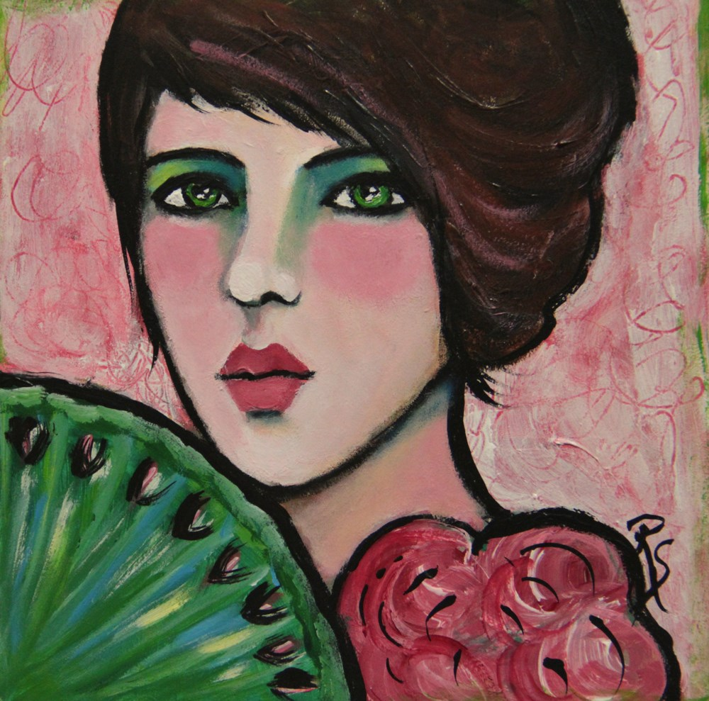 """Coco in Pink"" original fine art by Roberta Schmidt"