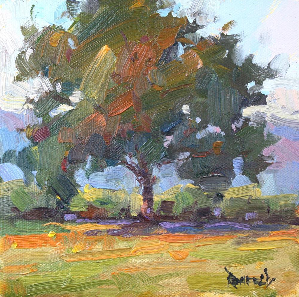"""""""Oak Tree in the Orchard"""" original fine art by Cathleen Rehfeld"""