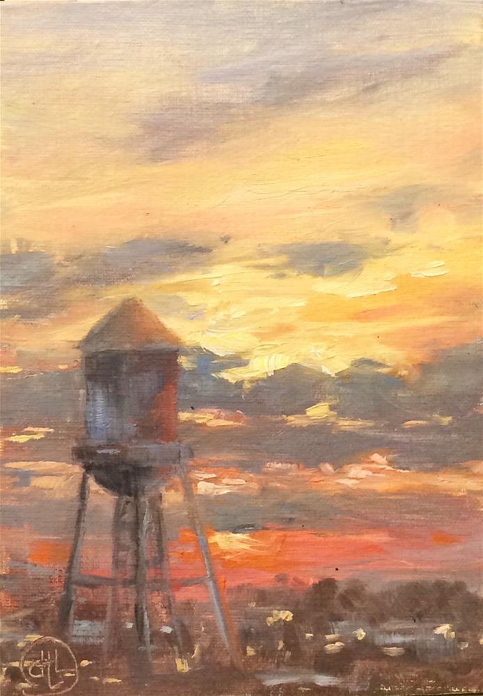 """southend sunset"" original fine art by Dottie  T  Leatherwood"