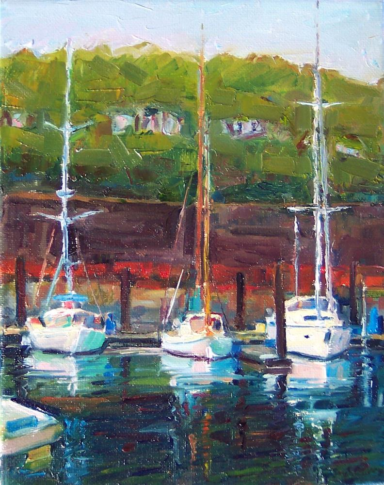 """Anacortes Docks,seascape,oil on canvas,10x8.price$400"" original fine art by Joy Olney"