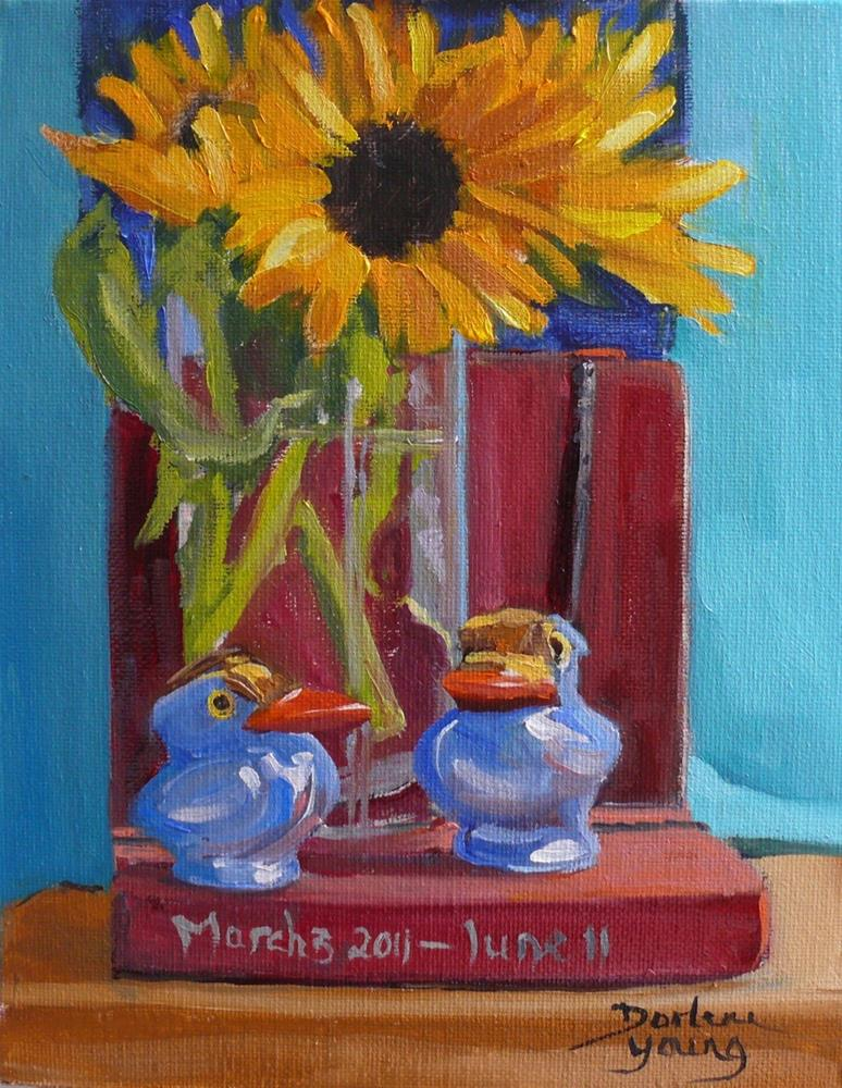 """886 Reminiscing, oil on board, 8x10"" original fine art by Darlene Young"