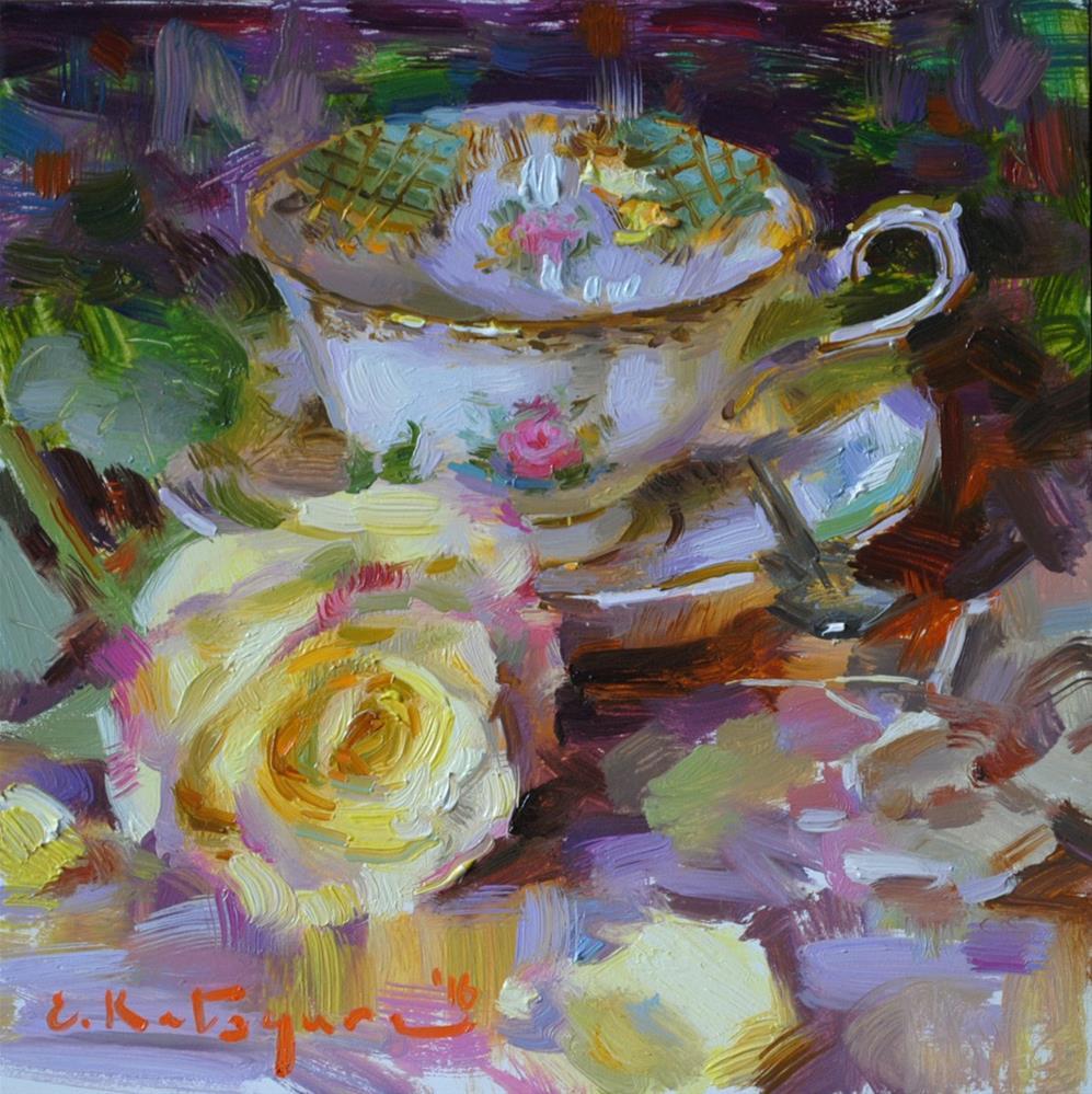 """Josephine Teacup and Yellow Rose"" original fine art by Elena Katsyura"