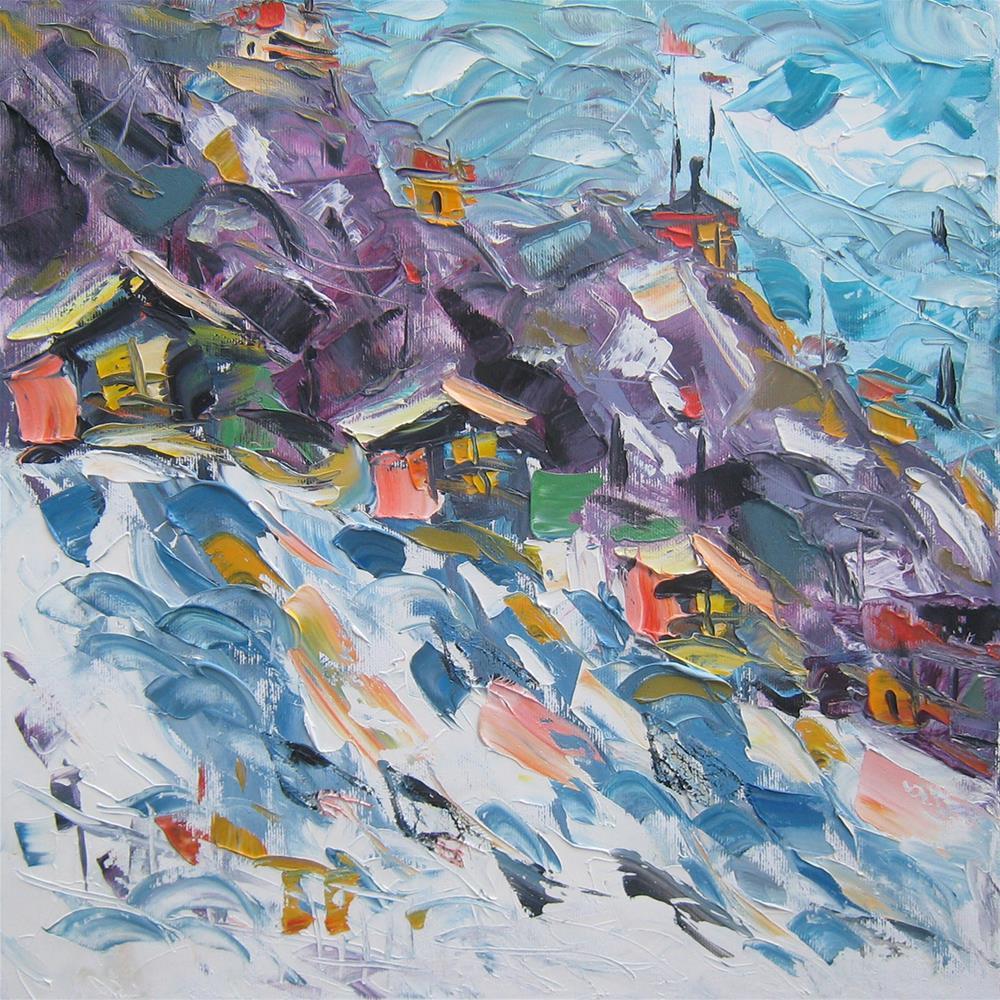 """Mountain Village"" original fine art by Elena Lunetskaya"