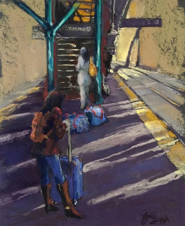 """""""Train Late"""" original fine art by jeri greenberg"""