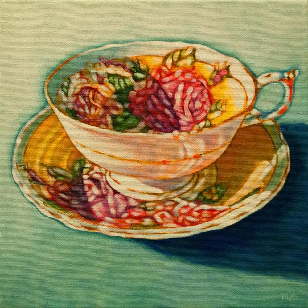 """""""Rose Teacup II"""" original fine art by Margaret Horvat"""