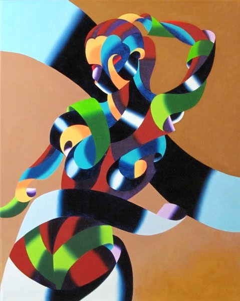 """Mark Webster - Abstract Geometric Futurist Figurative Oil Painting"" original fine art by Mark Webster"