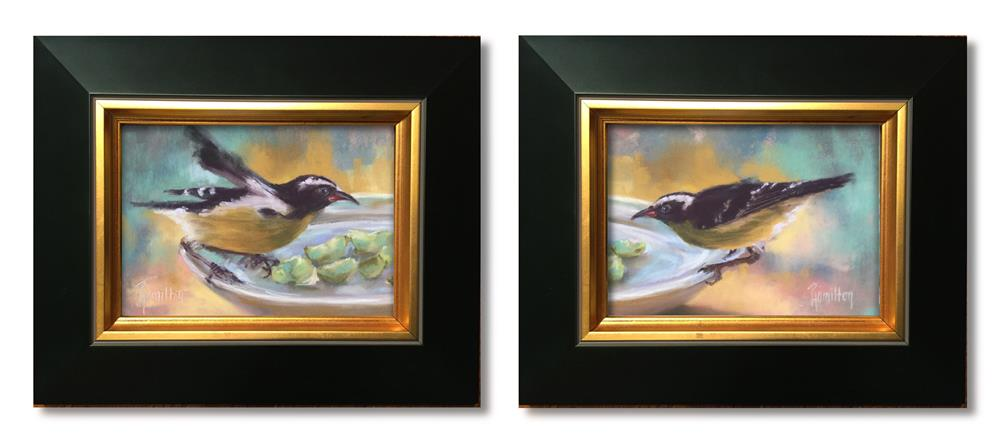 """Feathered Friends Diptych"" original fine art by Pamela Hamilton"