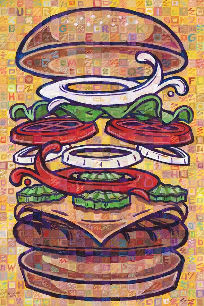"""Expanded Cheeseburger (Whopper With Cheese)"" original fine art by Randal Huiskens"