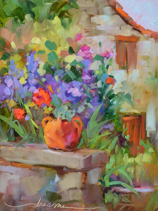 """Le Jardin of Frayssinet"" original fine art by Dreama Tolle Perry"
