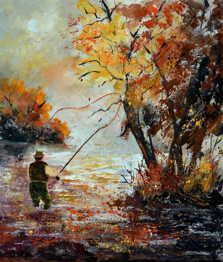 """Flyfishing"" original fine art by Pol Ledent"
