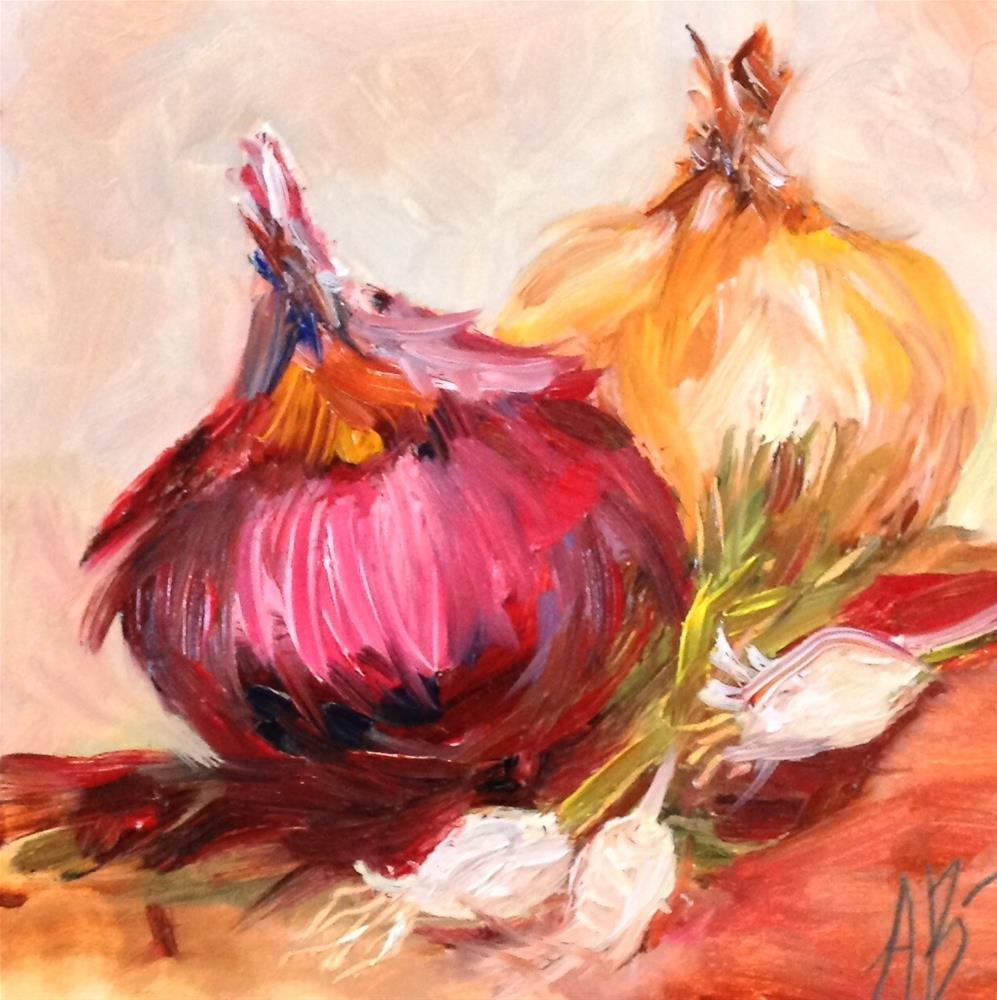 """Red yellow green onions"" original fine art by Annette Balesteri"