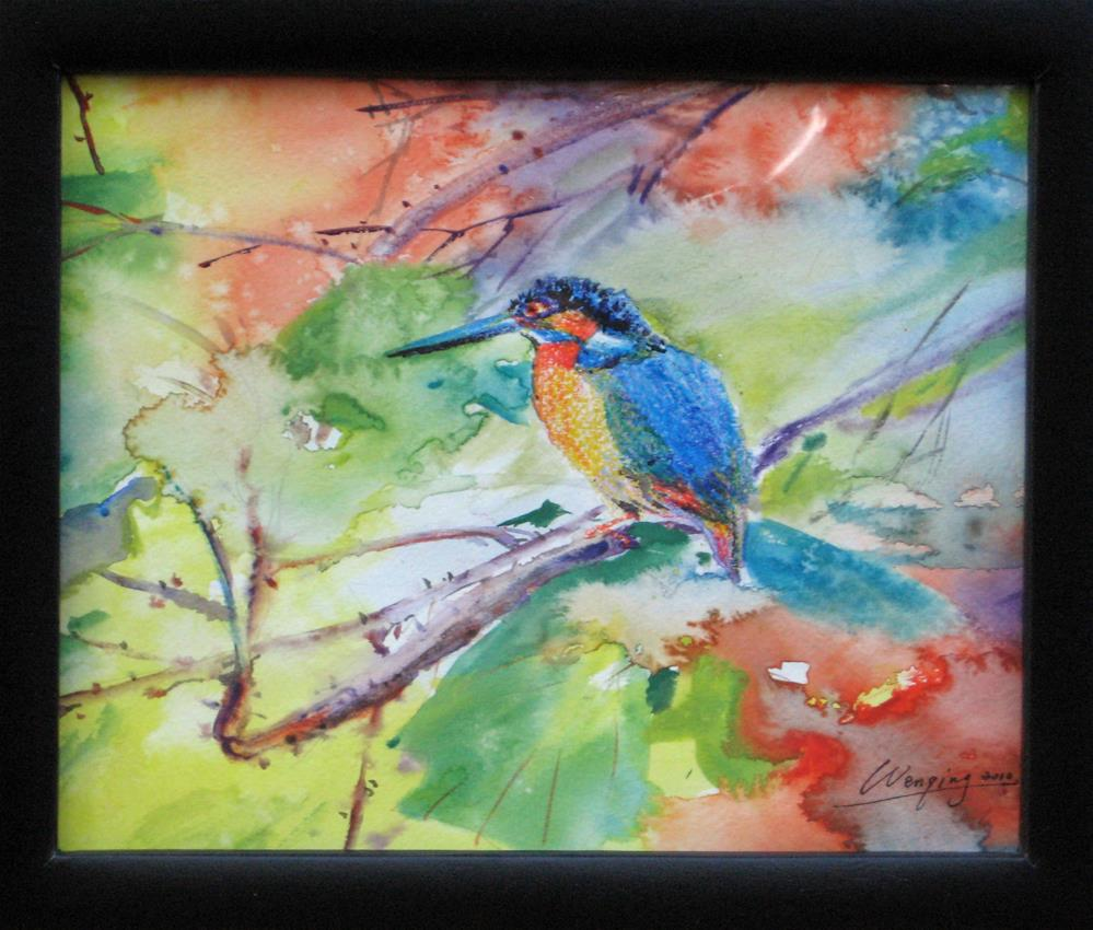 """kingfisher"" original fine art by Wenqing Xu"