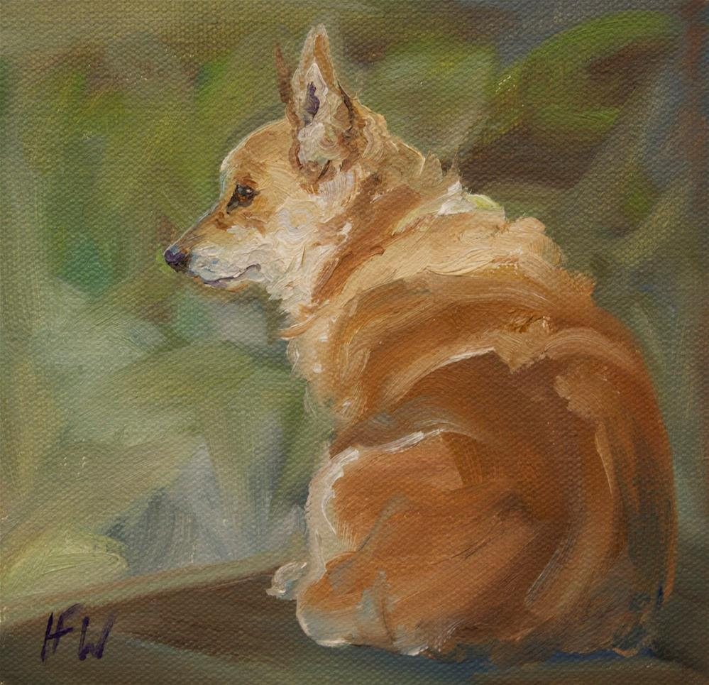 """Corgi on watch"" original fine art by H.F. Wallen"