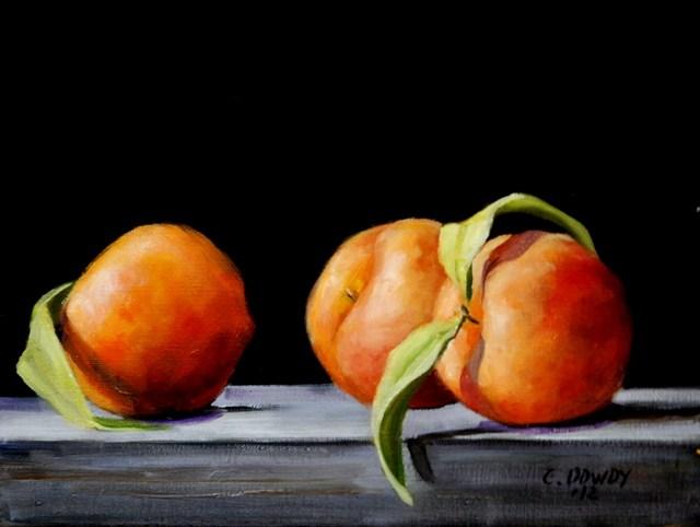 """Peaches on Black"" original fine art by Christina Dowdy"