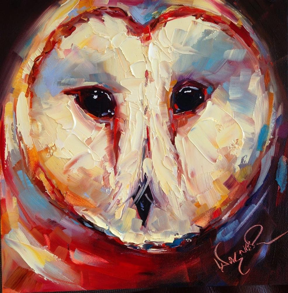 """Loving Color Day 8 - ORIGINAL CONTEMPORARY BARN OWL PAINTING in OILS by OLGA WAGNER"" original fine art by Olga Wagner"
