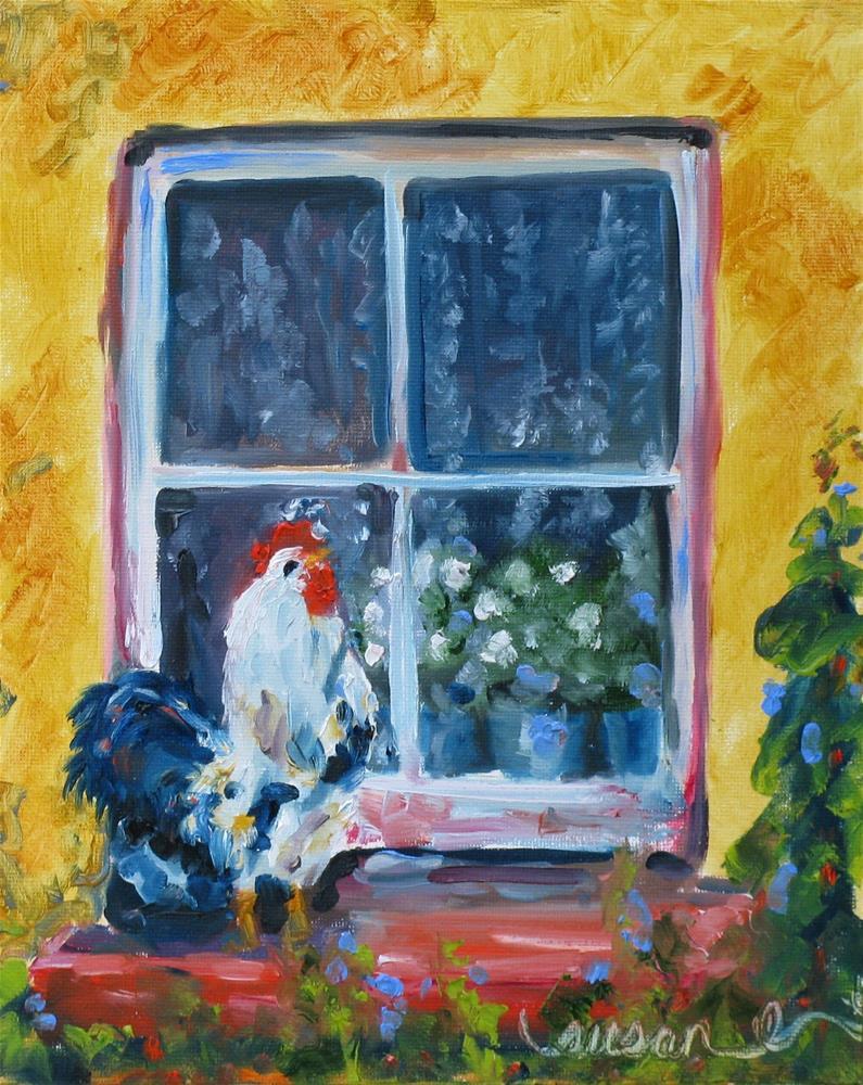 """Chicken in my Window"" original fine art by Susan Elizabeth Jones"