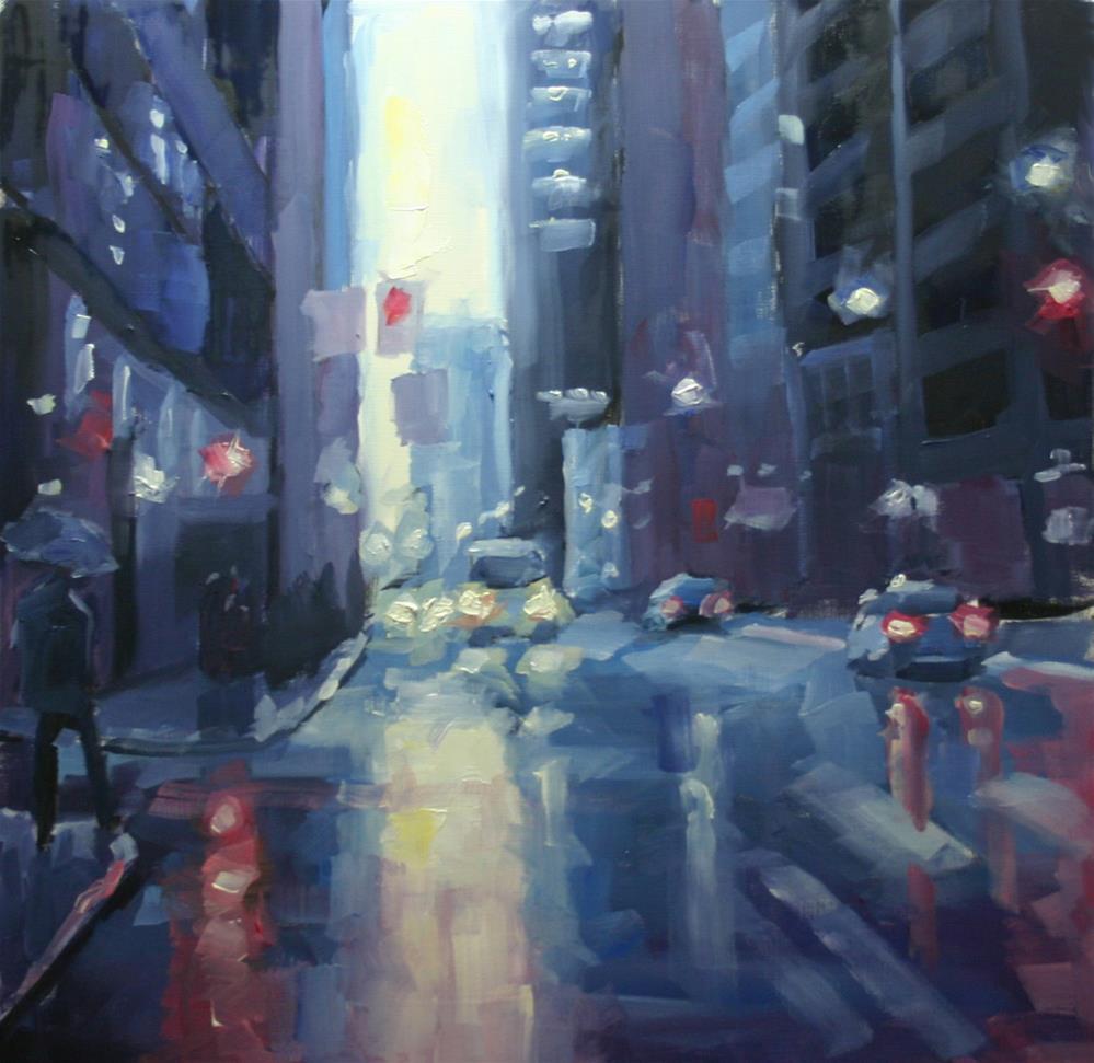"""""""Bay Street Blues, Toronto"""" original fine art by Catherine Jeffrey"""