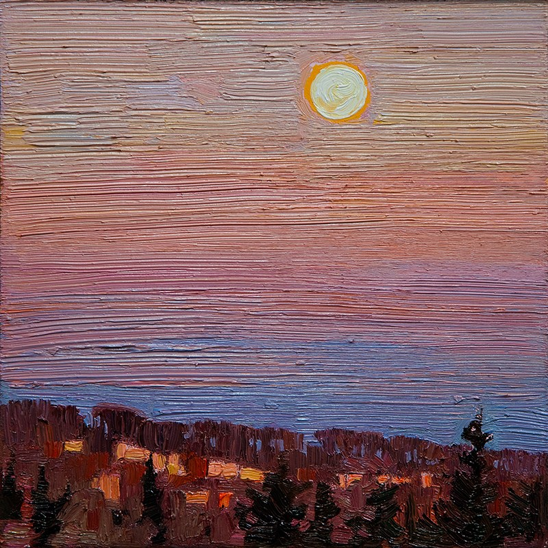 """Full Moon Evening: 6x6 oil on panel"" original fine art by Ken Faulks"