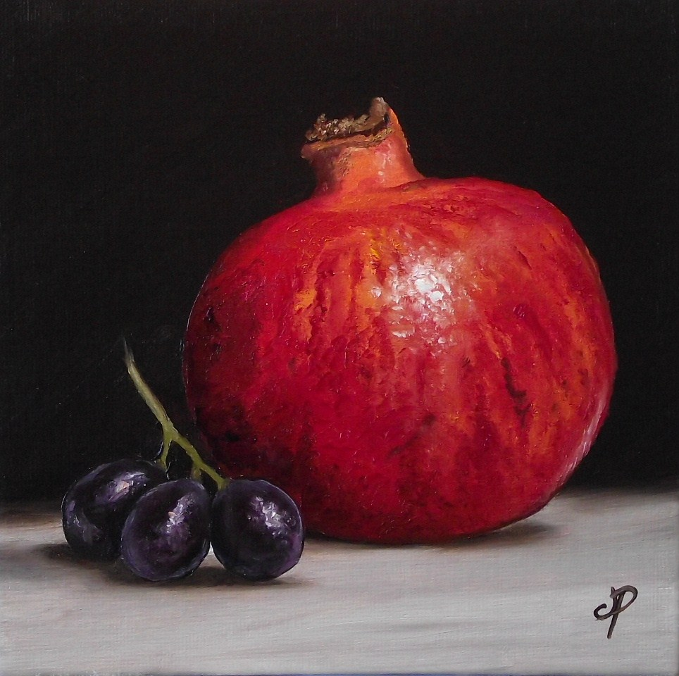 """Pomegranate with grapes & cherry pair"" original fine art by Jane Palmer"