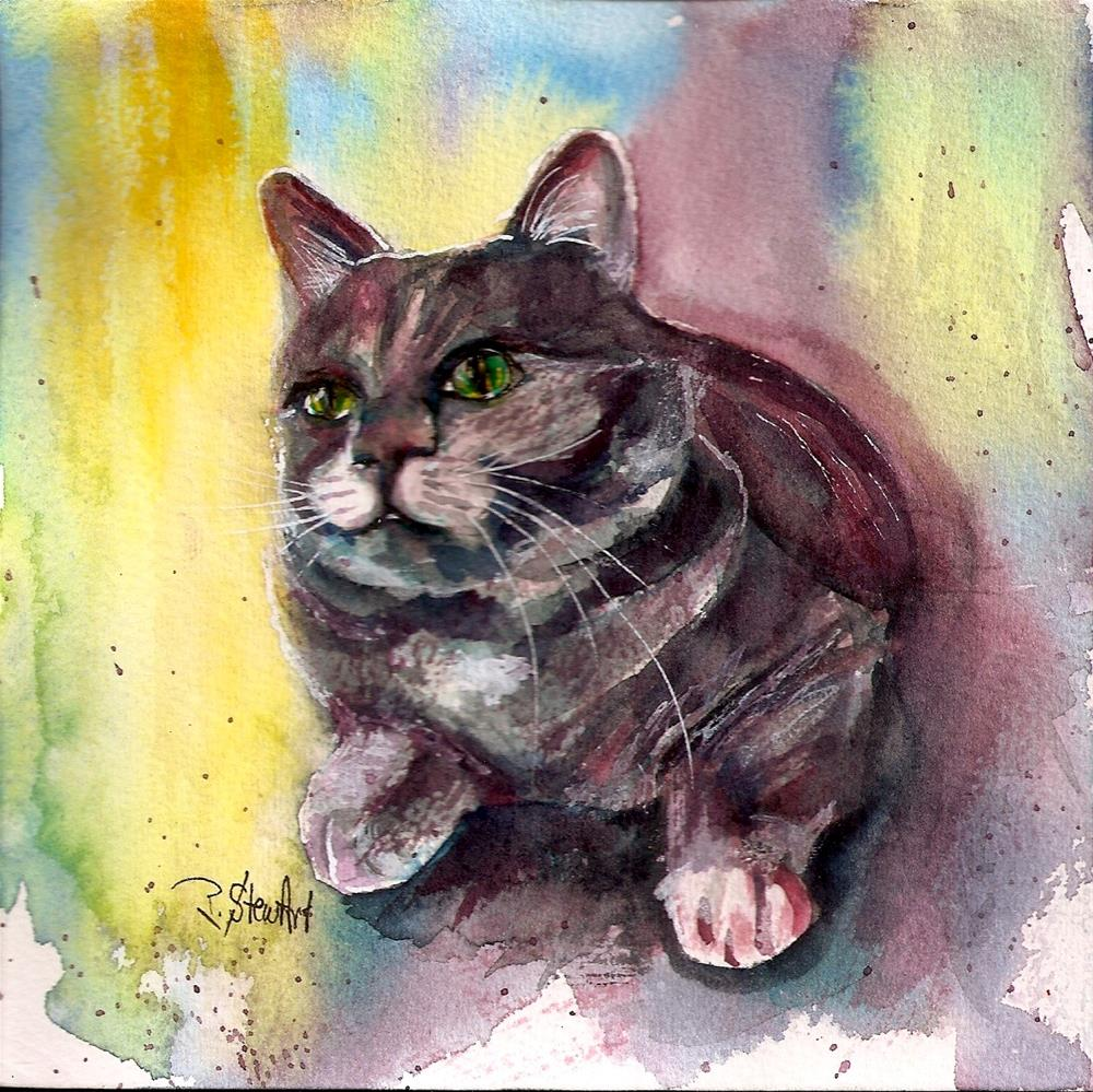 """""""6x6 Marsala The Watchful Kitty Cat Pet Portrait Watercolor by Penny StewArt"""" original fine art by Penny Lee StewArt"""