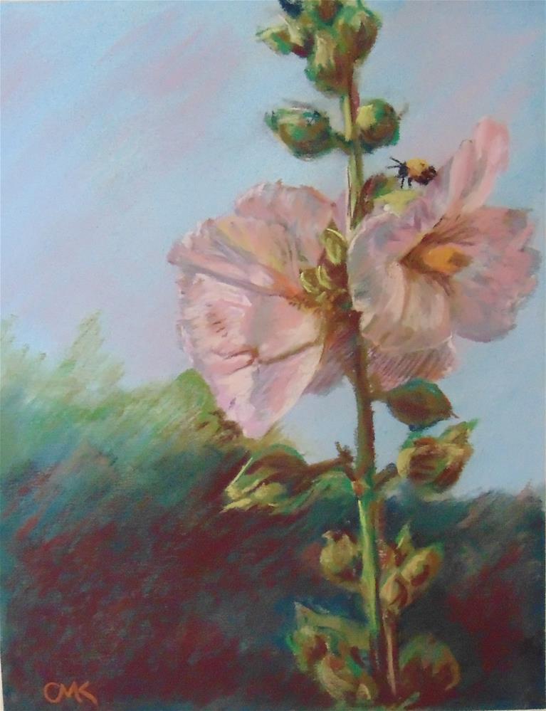 """Hollyhocks II"" original fine art by Catherine Kauffman"