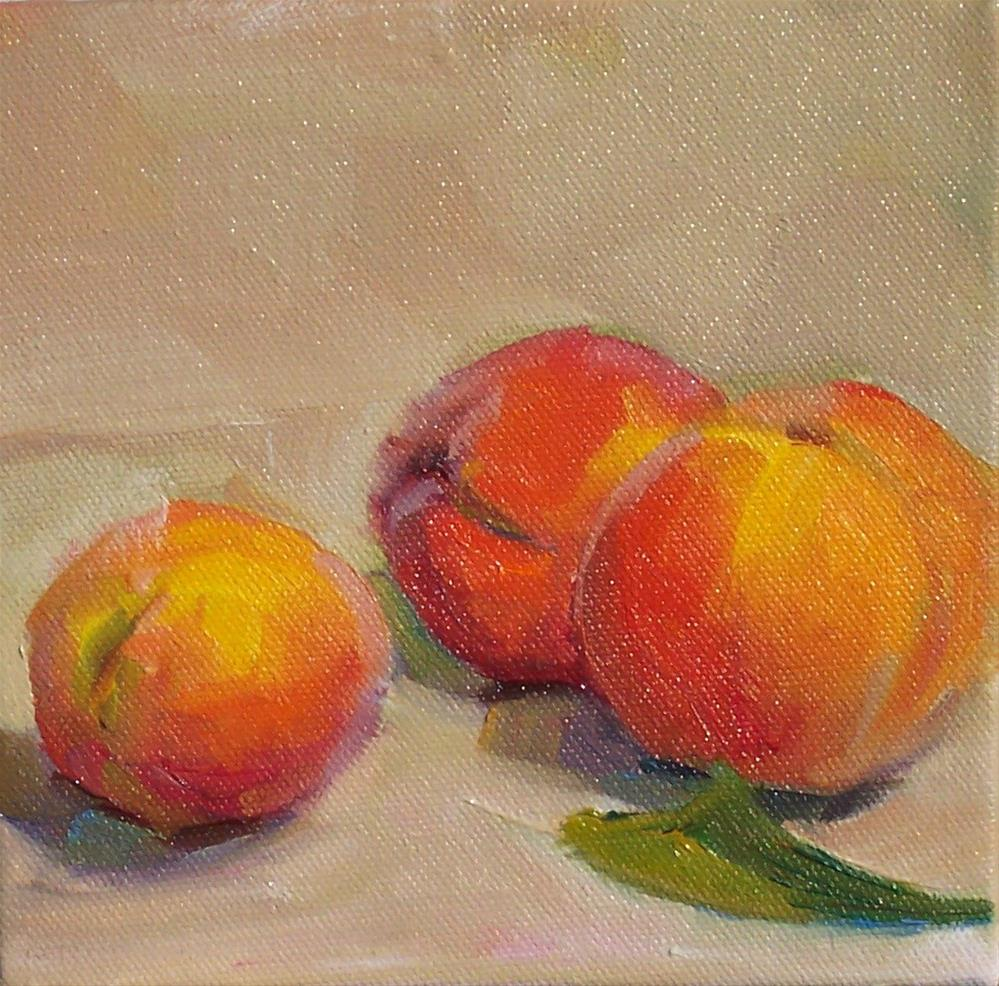 """Peaches,still life,oil on canvas,6x6,price$200"" original fine art by Joy Olney"