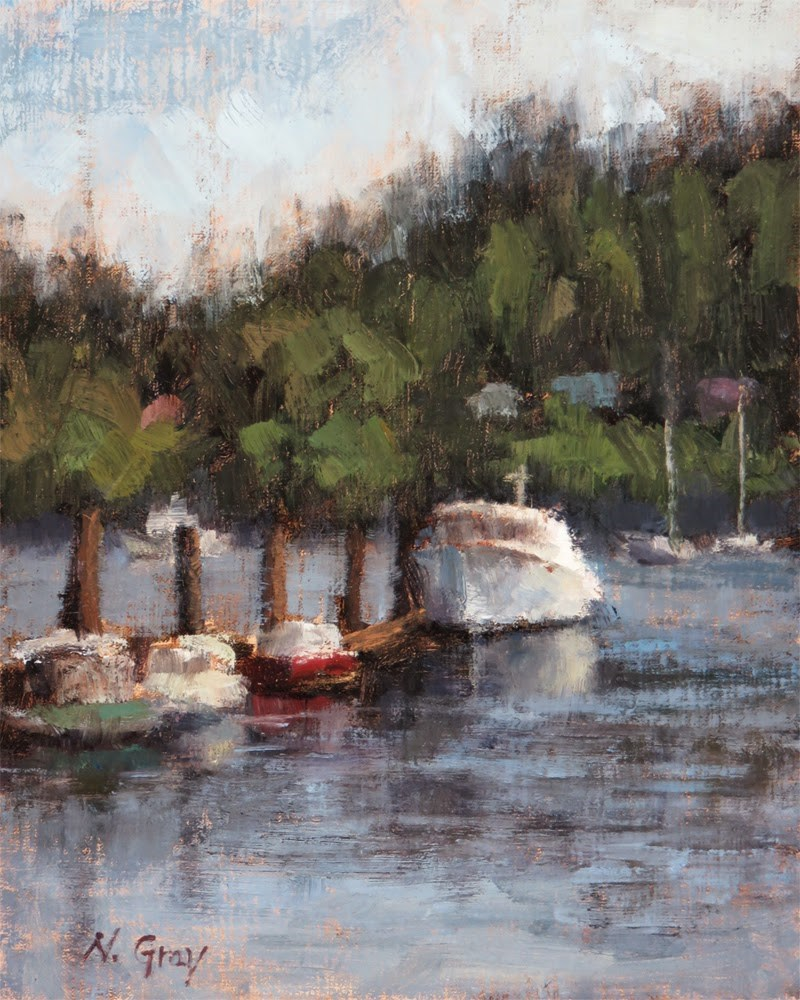 """White Boat at the Harbor"" original fine art by Naomi Gray"
