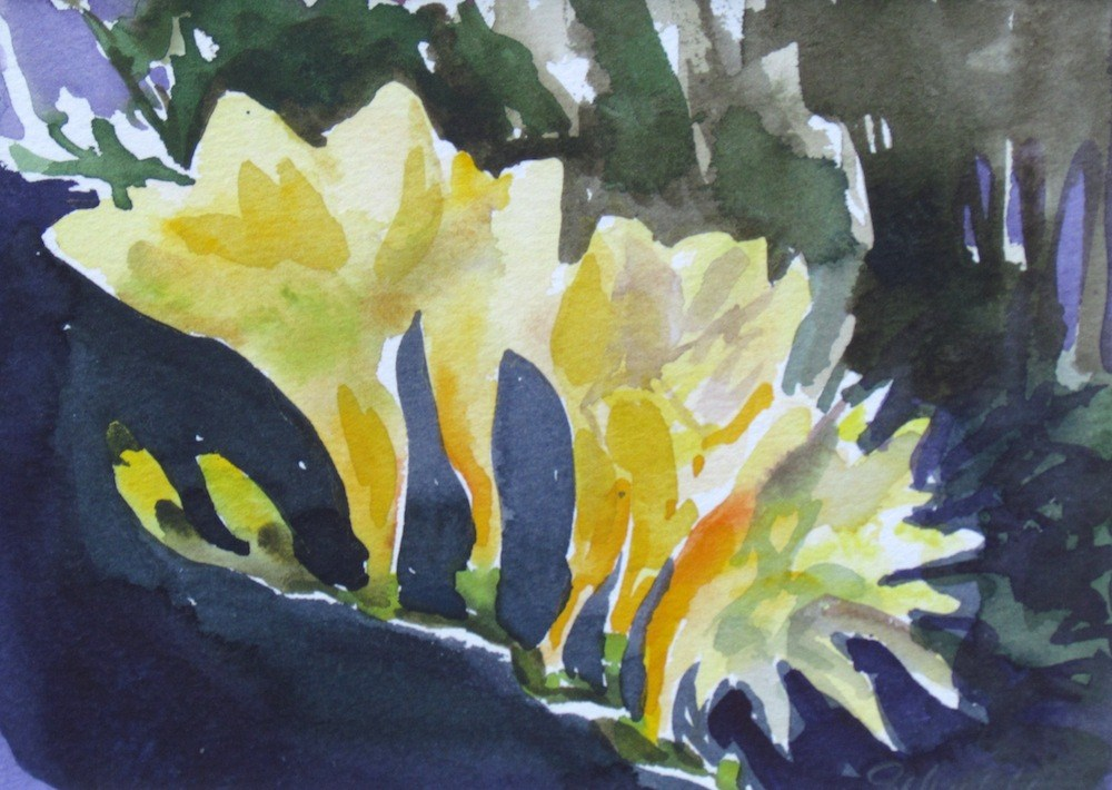 """Yellow Freesias (Matted)"" original fine art by Lynne Schulte"