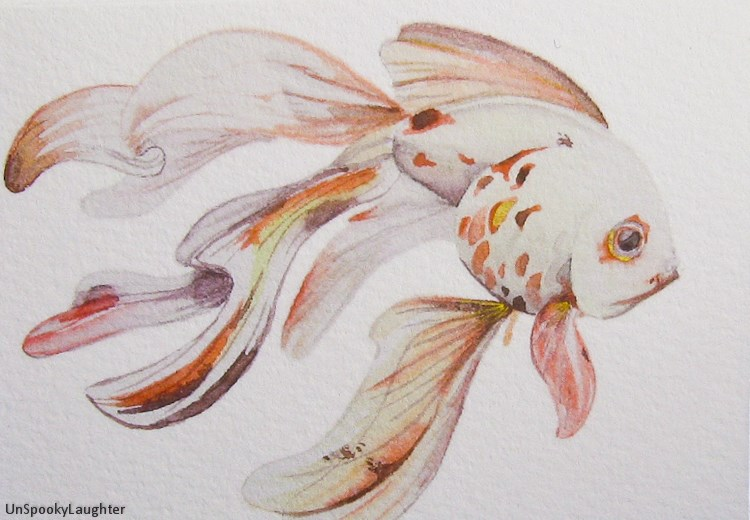 """Stick Ninja (goldfish) ACEO"" original fine art by A.E.E. Miller"