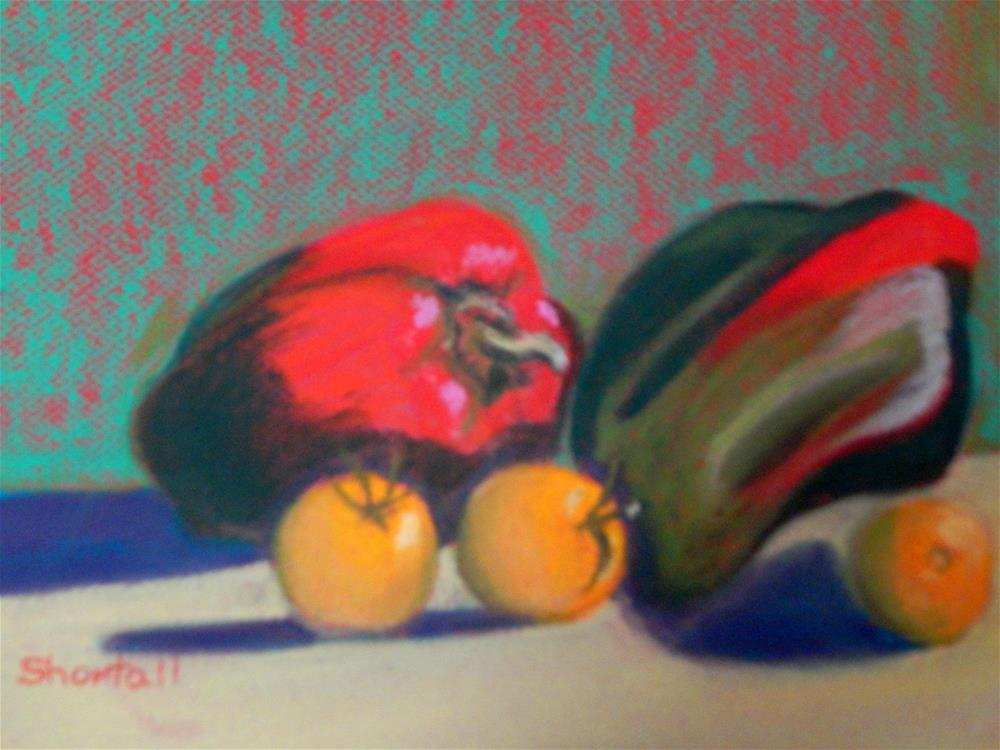 """""""Red, Green and Yellow"""" original fine art by Elaine Shortall"""