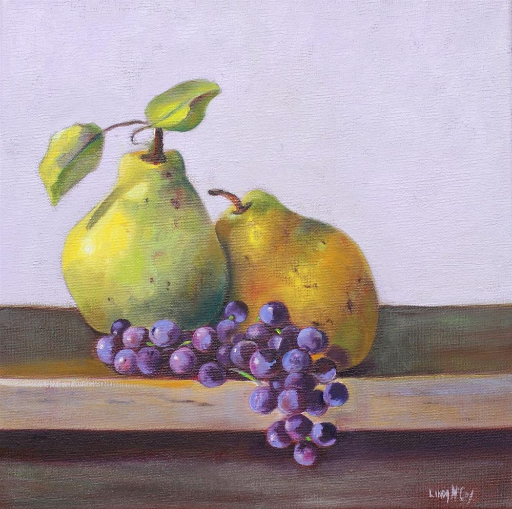 """Pears and Concord Grapes"" original fine art by Linda McCoy"